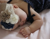 Denim burlap lace headband, baby headband, shabby chic, newborn headband