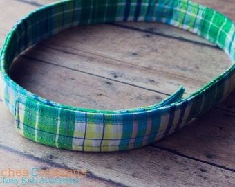 Green Plaid Kids Belts- Adjustable Velcro Belt