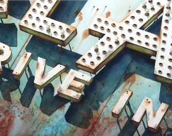 Old Neon Drive-in Sign-Giclee Print of watercolor painting-retro and rusty