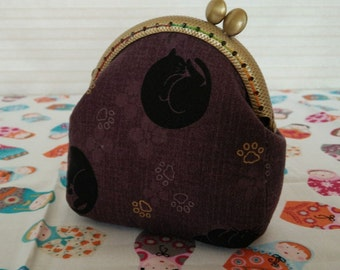 Coin Purse - cat - Cotton Fabric with Metal Frame