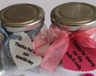 Wedding favour jars - personalised with tags and ribbons