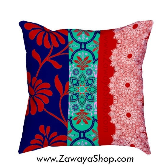 White Decorative Pillows For Bed : Decorative pillows red royal blue white for sofa or bed colors