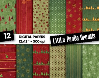 Christmas Digital Paper, Christmas red, Gold paper, Christmas tree, Christmas bells, Christmas ball, Scrapbook Paper Pack, Instant Download