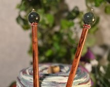 """The """"Isolde"""" - Wooden Knitting Needles - fine hand made knitting needles in figured Rosewood with Jeweled end cap in Forest Agate and Silver"""