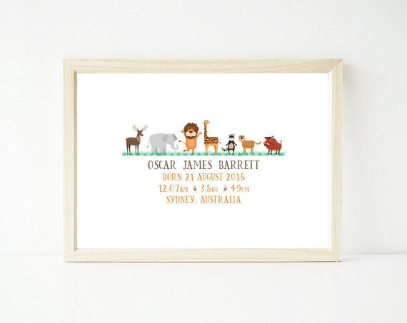 Customised Boys Birth Details Print 8x10 or 11x14 inch - zoo / jungle animals design - printable