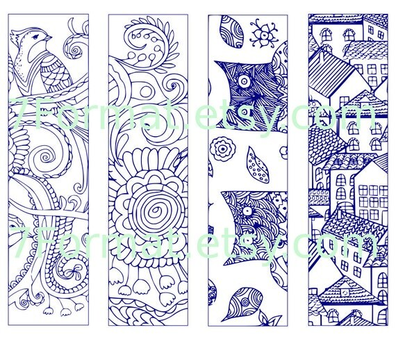 Bookmarks Coloring Printable, scaleable PDF file super quality, Instant Download. 10v s.