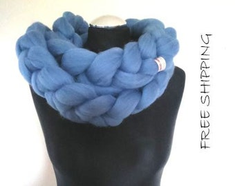 Chunky Knit Scarf, Wool Scarf,Merino Wool Scarf, Cozy Scarf,Gift,Christmas gift