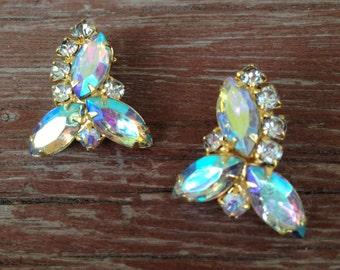 Vintage Clear AB Rhinestone Earrings- Juliana Style