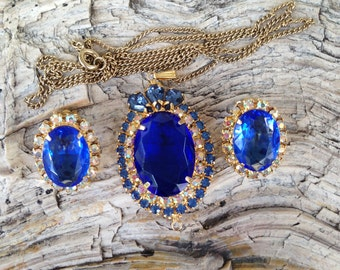 Juliana D&E Princess Diana Sapphire Blue Rhinestone Necklace and Earring Set
