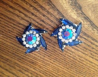 Juliana D&E Sapphire Blue, Clear and AB Rhinestone Earrings 0462