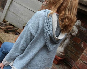 The Cowgirl Hoody - Sky Blue Hand Knitted Hoody Jacket