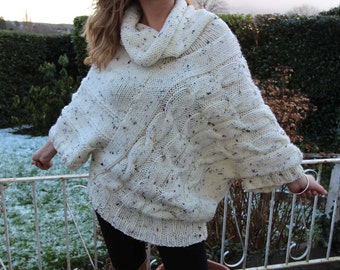 The Snow Sweater -Cream Sweater Chunky Handknitted Size M to XL