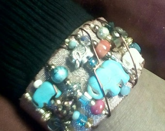 Beaded and leather cuff