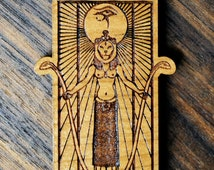 Sekhmet Pendant - Natural Hardwood - Laser Cut Engraved Wood Wooden Deity Goddess Sacred Geometry - LT10049