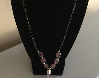 Amethyst Stone Necklace,Gunmetal,Gift for Her,Fashion Jewelry,Purple