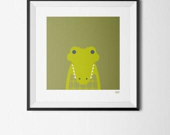Crocodile - Art Print 20cm x 20cm