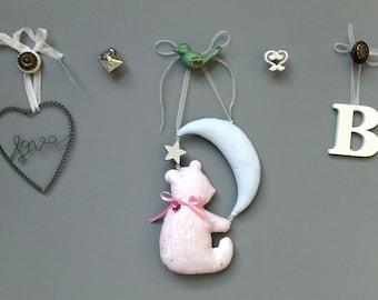 Teddy Bear Baby Girl Door Hanger