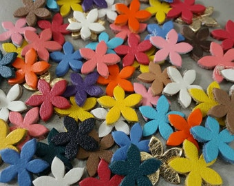 15 mm. (1.5 cm.), Mixed Colors, Small Leather Flowers, Leather Flowers Die Cut, DIY Projects.