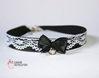 Choker Gothic Lolita Pastel Goth Black Collar Necklace with Lace Ribbon and bell kitten play pet play ddlg petplay kittenplay kink fetish