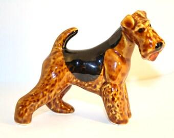 Airedale Terrier, welsh terrier dog  figurine ceramics handmade,  statuette porcelain
