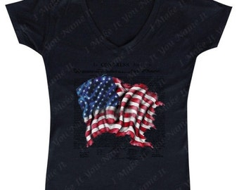 American Declaration Flag - Ladies' V-neck