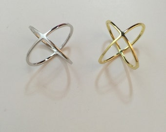 X ring,925 sterling silver x ring,criss cross ring