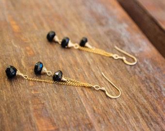 Black and Gold Earrings, Gemstone Earrings, Gold fill Earrings
