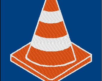 Traffic Construction Cone Embroidery Design