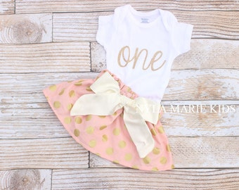 Baby Girl Clothes, Pink and Gold First Birthday, Girl First Birthday Outfit, Pink Birthday, Glitter Onesie, Cake Smash, 1st Birthday Outfit,