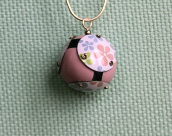 Pink Floral Tin Orb Necklace