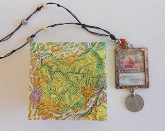 Memory necklace travel keepsake foreign coin map postal stamp Kenya Uganda Africa St Thomas  Cayman bone coral bead frame necklace