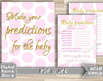 Predictions for Baby Printable in Pink Dots and Gold Glitter - Baby Shower Predictions in Pink Dots And  Gold Theme - Instant Download - pg1
