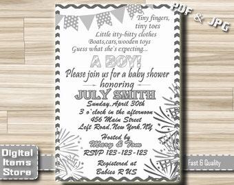 Baby Shower Invitation Chevron Gray Printable - Baby Shower Party Invites in Chevron Theme - Party Invitation Gray White Chevron - gc1