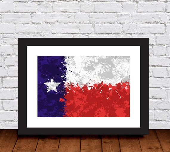 Texas Flag Splatter Wall Art Home Decor Print