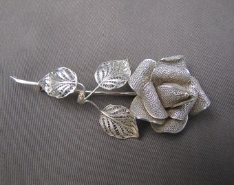 Vintage coin silver filigree Rose pin