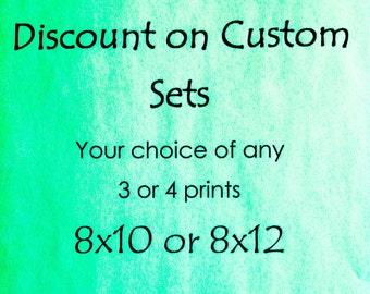 Set of 3 or 4 Photos- 8x10 or 8x12-Multiples Discount- Sale Custom Photo Set Your Choice- Romantic Country Home Decor Large Wall Art, Rustic