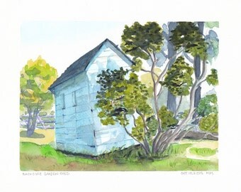 Original Watercolor painting small garden scene Shed near Picton Ontario FREE SHIPPING