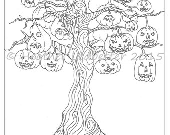 Halloween spooky tree coloring pages ~ Halloween tree | Etsy