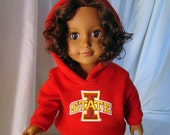"Iowa State or Your School or Team's Hooded Sweatshirt, Hoodie Doll Outfit; for American Girl Style 18"" Dolls! School n Dress up Doll Clothes"