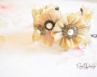 Shabby chic  beige bracelet, cream lace cuff, beige fabric bracelet, botton bracelet, vintage lace bracelet, romantic cuffs, GyaDesign