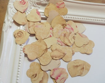 Paper heart tea stained-table confetti