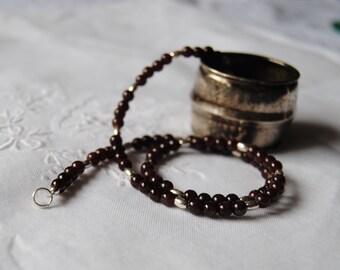 Necklace, garnet, gemstones, made in Italy, 925 sterling silver