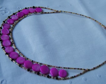 necklace, stained glass beads,pearl, black agate, made in Italy