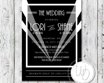 Hollywood Wedding Invitation, Black and White Wedding Invitation, Movie Wedding Invitation, Film Wedding Invitation, Modern Invitation