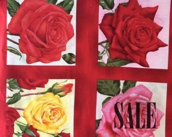 Red rose fabric panel, floral quilt panel, rose quilt block, red floral fabric, English Rose fabric cotton fabric panel yardage SALE
