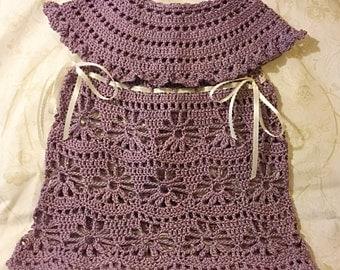 Crochet cotton baby dress, purple baby dress, baby bridesmaid dress, infant bridesmaid, infant crochet dress, plum color baby crochet dress,