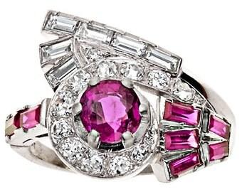 Vintage Retro Rubies Diamonds Platinum Ring. Circa 1940