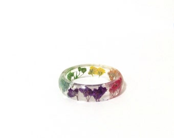 Pressed Flower Resin Jewelry- Real Flower Ring-  Resin Ring made with Flowers- Rainbow Ring- Colorful Baby's Breath