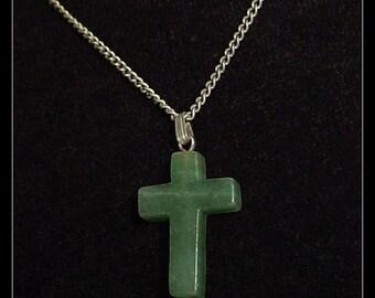 Stone Cross Pendant Necklace