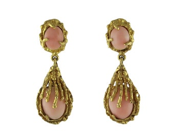 Modernist 14K Gold Angel Skin Coral Pierced Earrings
